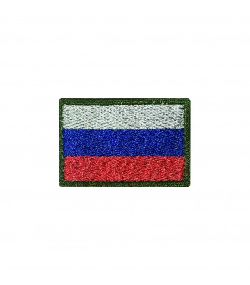 Russian flag Patch with olive border